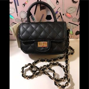 GIANNI BINI QUILTED FLAP BLACK CROSSBODY